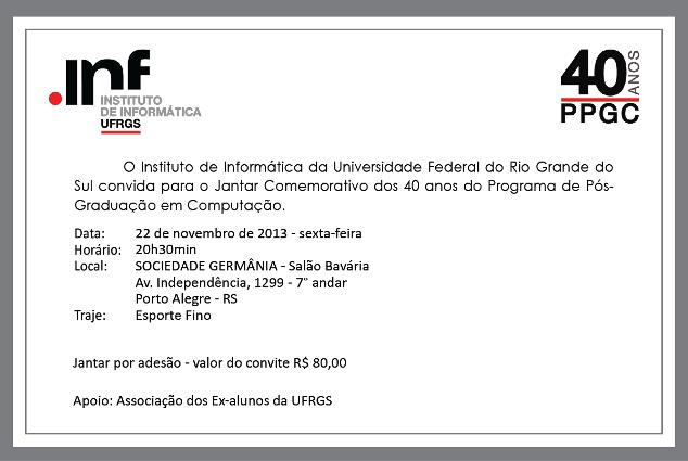 Convite do Jantar de 40 Anos do PPGC
