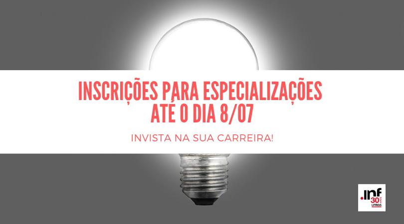 inscrições para especializações até o dia 8_07